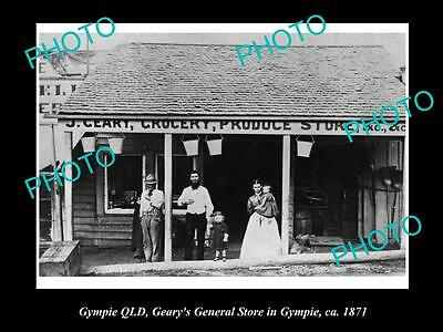 Old Large Historic Photo Of Gympie Queensland, Gearys General Store 1871