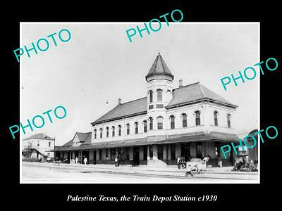 OLD LARGE HISTORIC PHOTO OF PALESTINE TEXAS, THE RAILROAD DEPOT STATION c1930 1