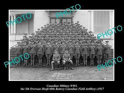 OLD LARGE HISTORIC PHOTO OF CANADIAN WWI MILITARY, THE 68th BATTERY CAF c1917