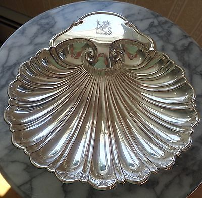 Crescent Silverware Silverplate Dolphin Footed Shell Serving Bowl