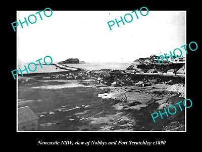 Old Large Historic Photo Of Newcastle Nsw, View Of Nobbys & Fort Scratchley 1890