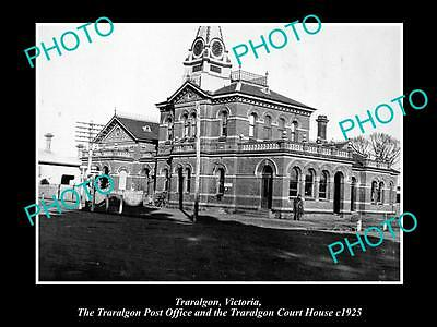OLD LARGE HISTORIC PHOTO OF TRARALGON VICTORIA, VIEW OF POST OFFICE c1925