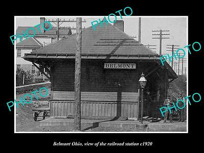 OLD LARGE HISTORIC PHOTO OF BELMONT OHIO, VIEW OF THE RAILROAD DEPOT c1920
