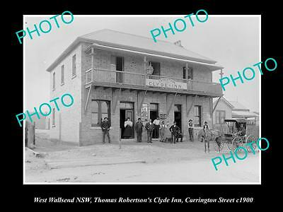 OLD LARGE HISTORIC PHOTO OF WEST WALLSEND NSW, VIEW OF THE CLYDE INN HOTEL c1900