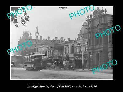 OLD LARGE HISTORIC PHOTO OF BENDIGO VICTORIA, VIEW OF PALL MALL & SHOPS c1910