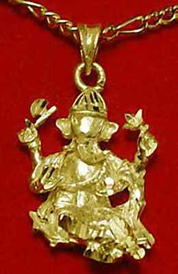 LOOK Hindu Lord Ganesh OM Gold plated over real Sterling Silver Charm Pendant Je
