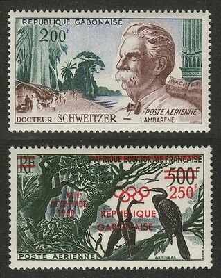 GABON C1 Albert Schweitzer, C3 Olympic Games Surcharges Mint, Never Hinged