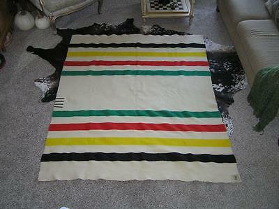 "Vintage Glacier Park 4 Stripe & 4 Bar Wool Blanket 63"" x74"" orig label"