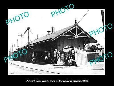 OLD LARGE HISTORIC PHOTO OF NEWARK NEW JERSEY, THE RAILROAD DEPOT STATION c1900