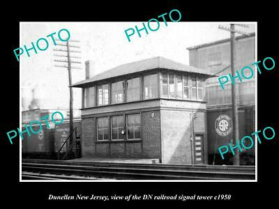 OLD HISTORIC PHOTO OF DUNELLEN NEW JERSEY, THE DN RAILROAD SIGNAL TOWER c1950