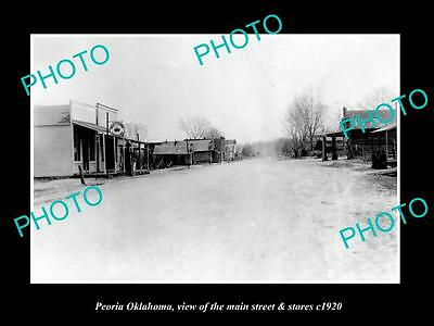 OLD LARGE HISTORIC PHOTO OF PEORIA OKLAHOMA, THE MAIN STREET & STORES c1920