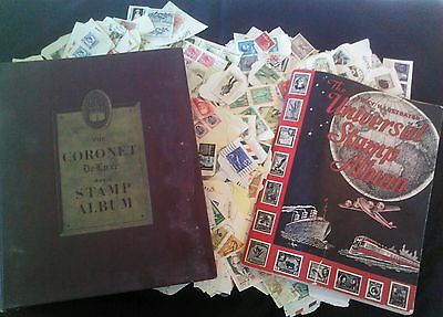 SALE! LOT Vtg Stamp Collection Worldwide & American Coronet Universal Album Book
