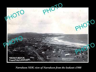 OLD LARGE HISTORIC PHOTO OF NARRABEEN NSW, VIEW OF NARRABEEN FROM LOOKOUT c1900