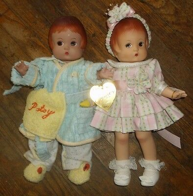 TWO 13-in Effanbee vinyl Patsy dolls, original clothes & tags, NO BOXES
