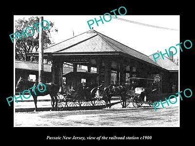 OLD LARGE HISTORIC PHOTO OF PASSAIC NEW JERSEY, THE RAILROAD DEPOT STATION c1900
