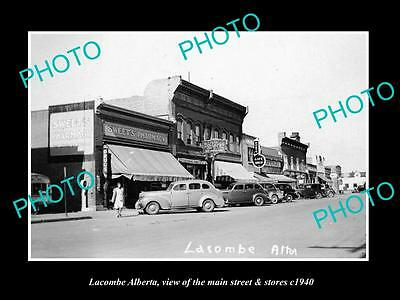 OLD LARGE HISTORIC PHOTO OF LACOMBE ALBERTA CANADA, THE MAIN St & STORES c1940