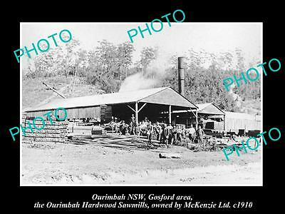 OLD LARGE HISTORIC PHOTO OF OURIMBAH NSW, GOSFORD AREA , THE SAWMILLS c1910