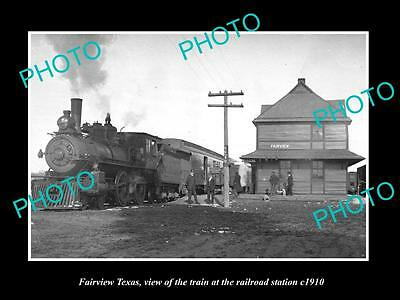 OLD LARGE HISTORIC PHOTO OF FAIRVIEW TEXAS, VIEW OF THE RAILROAD STATION c1910