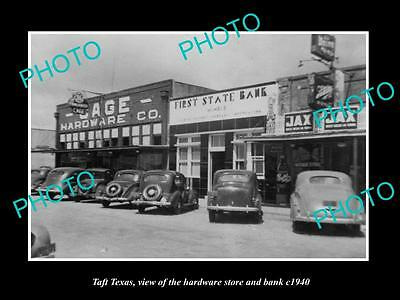 OLD LARGE HISTORIC PHOTO OF TAFT TEXAS, VIEW OF THE HARDWARE STORE & BANK c1940