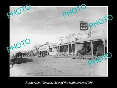 OLD LARGE HISTORIC PHOTO OF RUTHERGLEN VICTORIA, VIEW OF THE MAIN STREET c1900