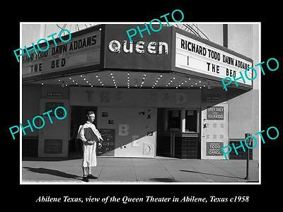 OLD LARGE HISTORIC PHOTO OF ABILENE TEXAS, VIEW OF THE QUEEN THEATRE c1958