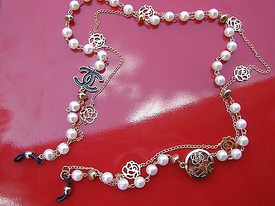 Pearl Chain Reading Glasses Chain Holder Neck Eyeglass Gold Charms Cord Strap