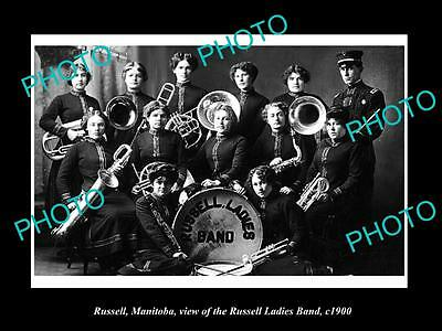 OLD LARGE HISTORIC PHOTO OF RUSSELL MANITOBA, VIEW OF THE LADIES BAND c1900