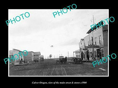 Old Large Historic Photo Of Culver Oregon, View Of The Main Street & Stores 1900