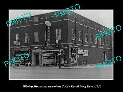 OLD LARGE HISTORIC PHOTO OF HIBBING MINNESOTA, THE STEIN REXALL DRUG STORE c1950