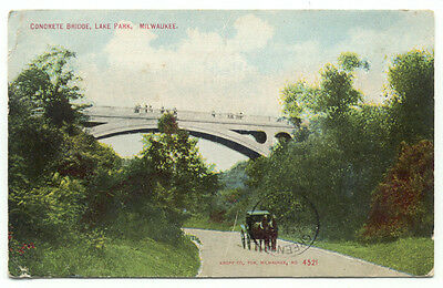 Milwaukee WI Concrete Bridge Lake Park c1909 Postcard  - Wisconsin