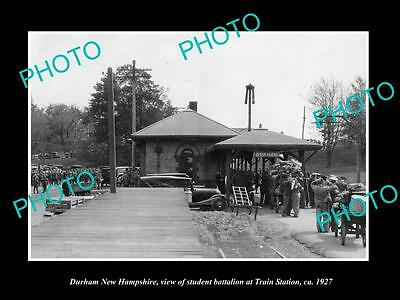 OLD LARGE HISTORIC PHOTO OF DURHAM NEW HAMPSHIRE, THE RAILROAD STATION c1927