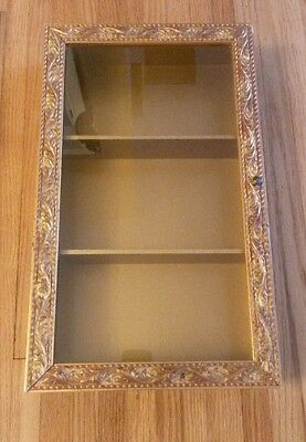 Vintage Gold Gilt Gesso Wood Glass Curio Display Cabinet Gump's Italy