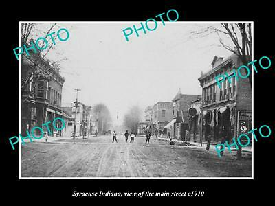 OLD LARGE HISTORIC PHOTO OF SYRACUSE INDIANA, VIEW OF THE MAIN St & STORES c1910