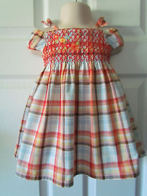Gymboree Multi-Color Plaid Smocked Baby Toddler Girl Dress Size 6-12 Months