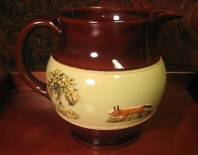 "VINTAGE BOURNE DENBY STONEWARE PITCHER 6 1/4 "" TALL HUNTING SCENE C 1940's"