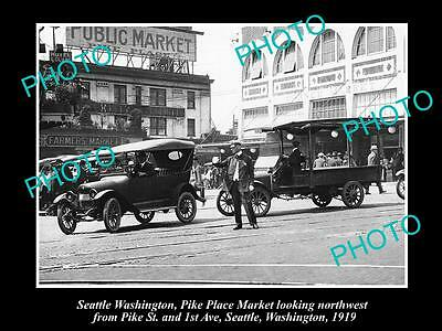 OLD LARGE HISTORIC PHOTO OF SEATTLE USA, THE PIKE PLACE MARKET, 1st Ave c1919