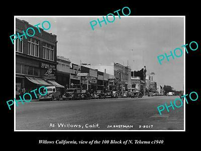 OLD LARGE HISTORIC PHOTO OF WILLOWS CALIFORNIA, THE 100 BLOCK & STORES c1940
