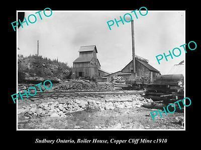 OLD LARGE HISTORIC PHOTO OF SUDBURY ONTARIO, VIEW OF THE COPPER CLIFF MINE c1910