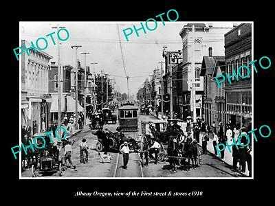 OLD LARGE HISTORIC PHOTO OF ALBANY OREGON, VIEW OF FIRST St & STORES c1910