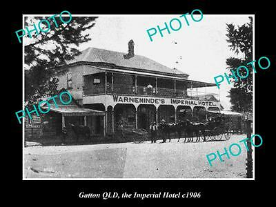OLD LARGE HISTORIC PHOTO OF GATTON QLD, VIEW OF THE IMPERIAL HOTEL c1906