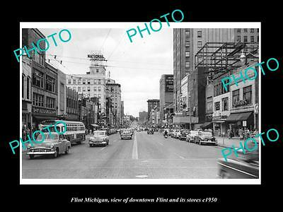 OLD LARGE HISTORIC PHOTO OF FLINT MICHIGAN, VIEW OF DOWNTOWN & STORES c1950