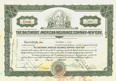 Stock Certificate  -  THE BALTIMORE AMERICAN INSURANCE COMPANY of NEW YORK