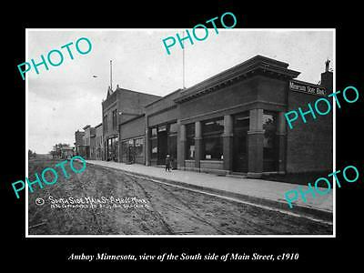 OLD LARGE HISTORIC PHOTO OF AMBOY MINNESOTA, VIEW OF THE MAIN St & STORES c1910