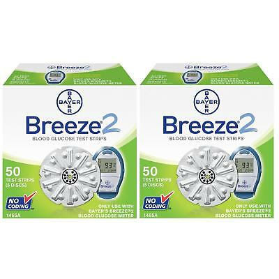 NEW Bayer Breeze 2 Blood Gloucose Disc Test Strips 50ct 2-Pack 1468A