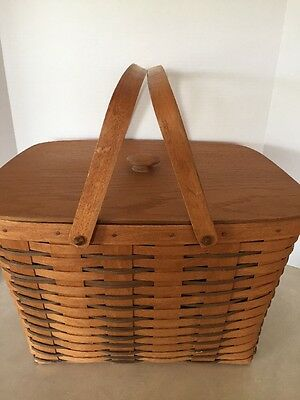 Collectible Longaberger 1990 Large 2-Handled Basket With Lid