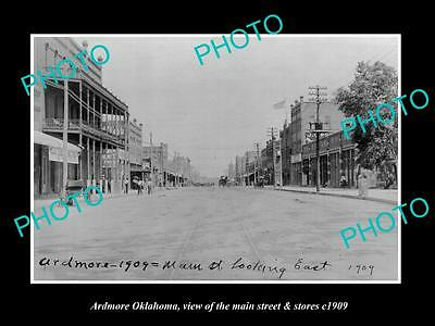 OLD LARGE HISTORIC PHOTO OF ARDMORE OKLAHOMA, THE MAIN STREET & STORES c1909