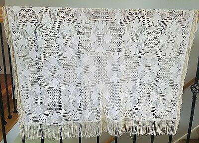 A4 Antique Afghan Filet Crochet Throw Blanket Fringe Silk Silky Vintage 50x40