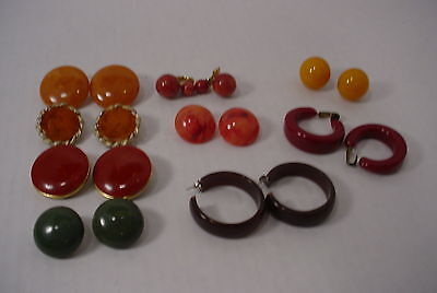 10 Prs Vintage Bakelite Earrings Clip Ons Colors