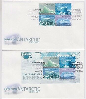 Stamps AAT Antarctic Icebergs block of 4 & mini sheet on pair of FDC's unaddress