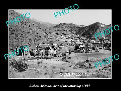 OLD LARGE HISTORIC PHOTO OF BISBEE ARIZONA, VIEW OF THE TOWNSHIP c1939